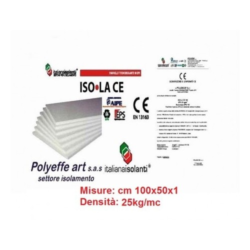 PANNELLO IN POLISTIROLO ISOLAMENTO TERMICO EPS DENSITA' 100 x 50 x 1 KG 25 MC