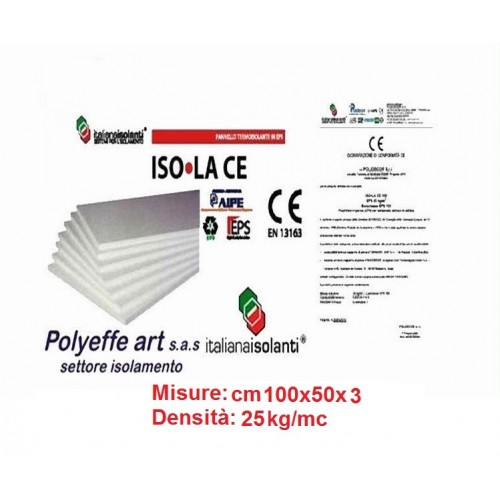 PANNELLO ISOLAMENTO TERMICO IN POLISTIROLO ALTA DENSITA' 100 x 50 x 3 KG 25 MC