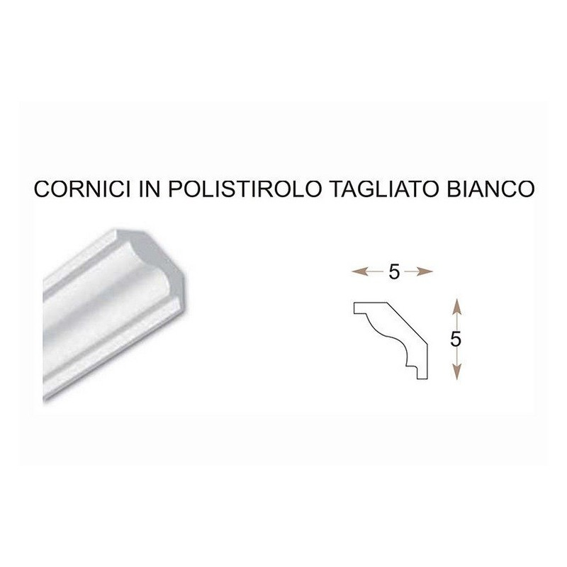 2 CORNICI IN POLISTIROLO RESINATE TAGLIATE MM 50 x 50 x 1000 DECORAZIONI CASA